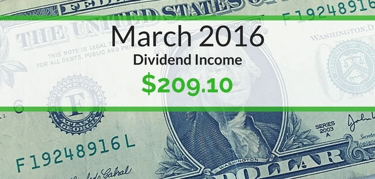 Dividend Income We Earned for March 2016