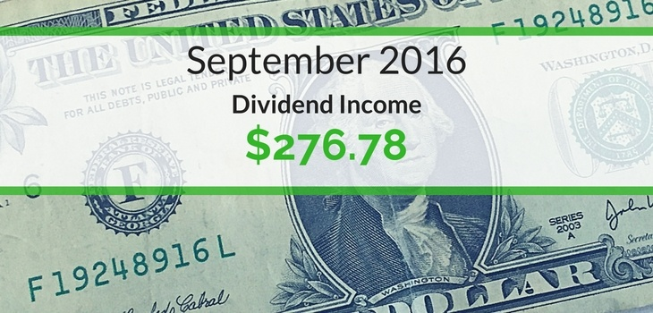 Dividend Income We Earned for September 2016