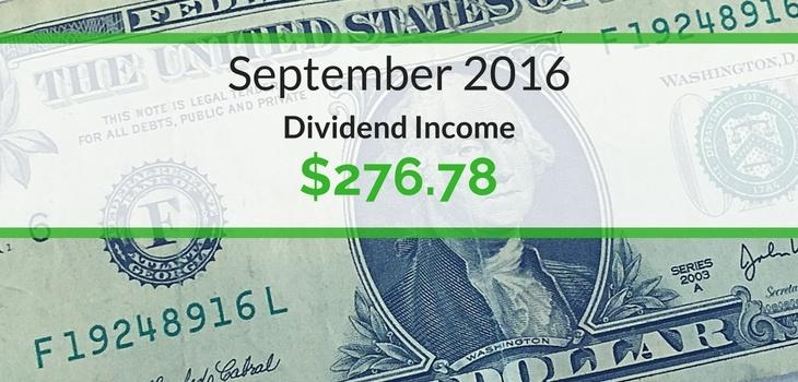 Dividend Income We Earned for September 2016