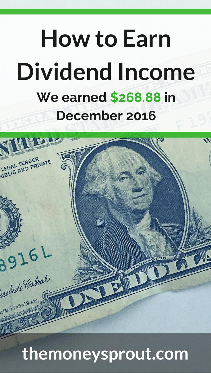 How We Earned $268.88 in Dividends in December 2016